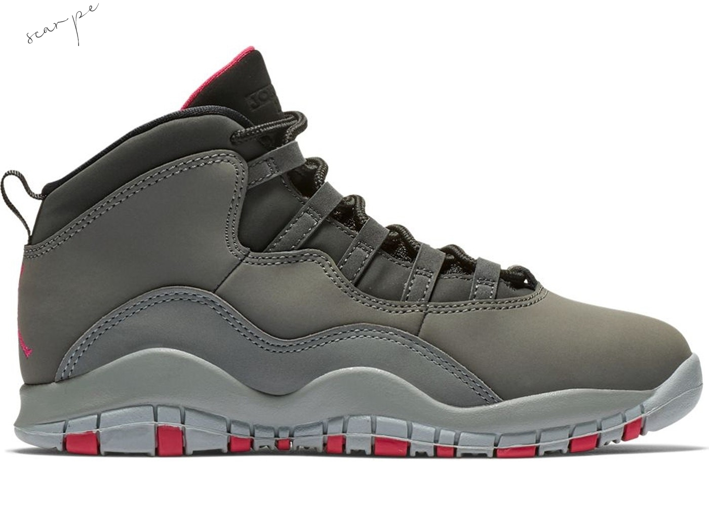 Vendite Air Jordan 10 Retro Rush Pink (Ps) Gris (487212-006) Scarpe Online