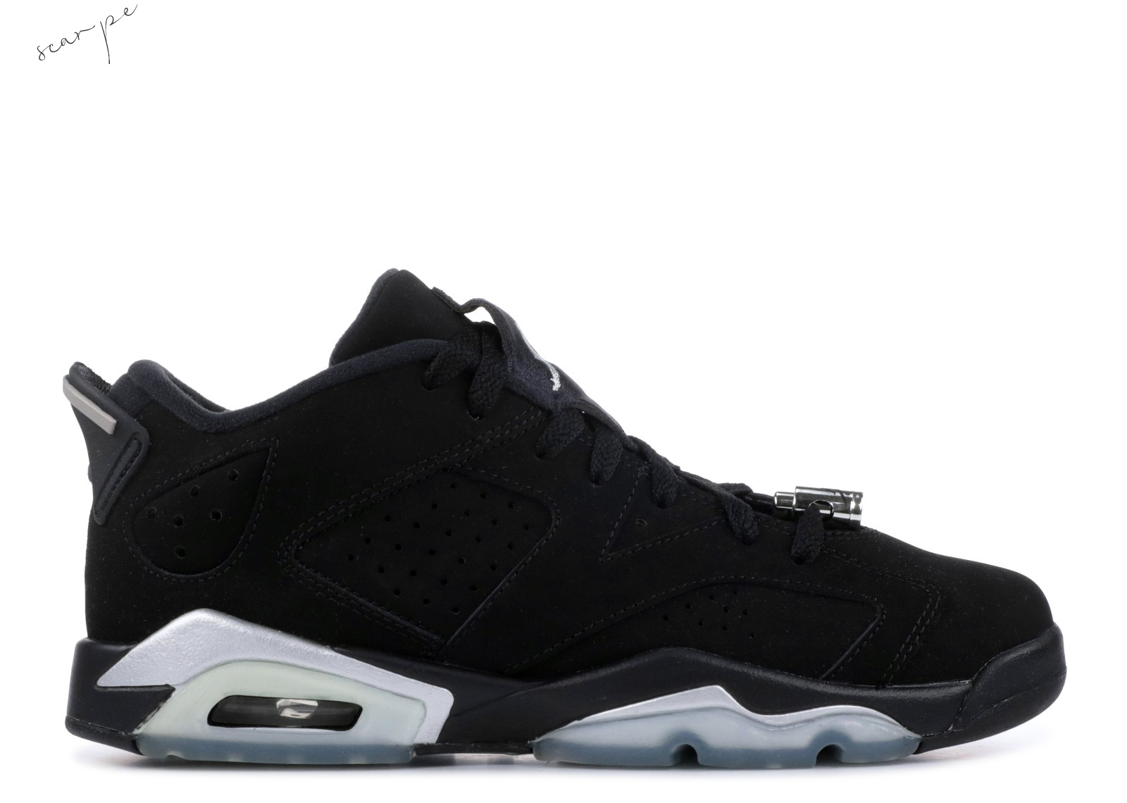 "Vendite Air Jordan 6 Retro Low ""Chrome"" Nero Metallico Argento (304401-003) Scarpe Online"