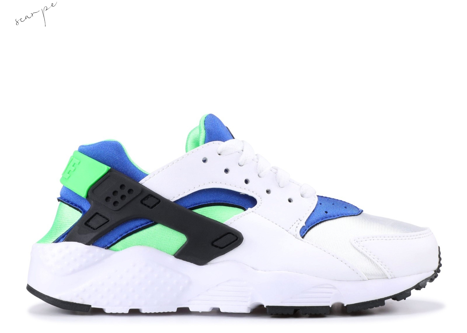 "Vendite Nike Air Huarache Run (Gs) ""Scream Green"" Bianca Blu Verde (654275-300) Scarpe Online"