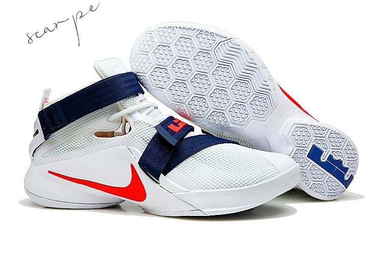 "Vendite Nike Lebron Soldier IX 9 ""Usa"" Navy Rosso Bianca Scarpe Online"
