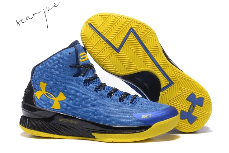 Vendite Under Armour Curry 1 Blu Giallo Nero Scarpe Online