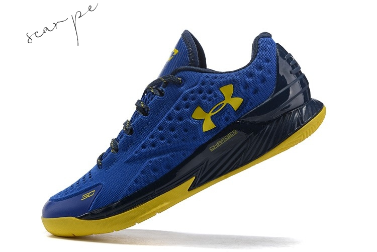 Vendite Under Armour Curry 1 Low Blu Giallo Nero Scarpe Online