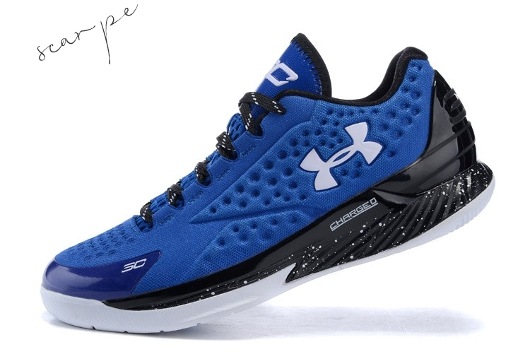 Vendite Under Armour Curry 1 Low Blu Nero Bianca Scarpe Online