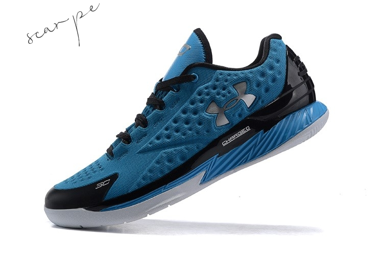 Vendite Under Armour Curry 1 Low Blu Nero Scarpe Online