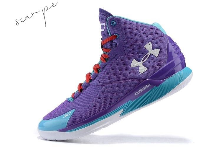 Vendite Under Armour Curry 1 Porpora Blu Scarpe Online